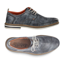 Load image into Gallery viewer, Side and top view of men's lace up blue derby shoe with perforations. Made by Rieker.
