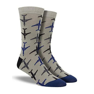 A pair of grey bamboo crew socks with blue and grey airplanes on them. Made by Socksmith.