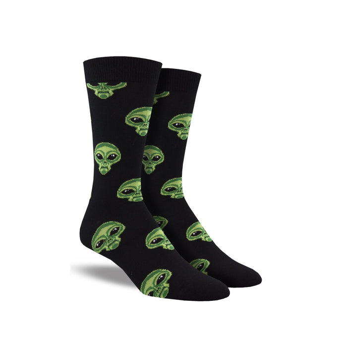 Black socks by Socksmith with green alien faces