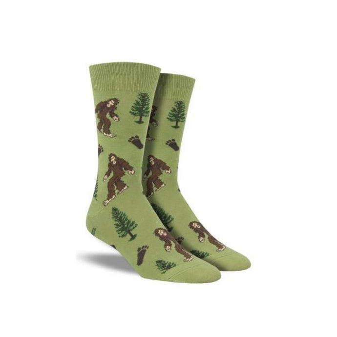 Green socks with Bigfoot and trees