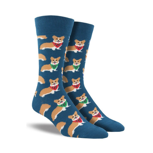Dark blue socks with bandana wearing corgi pattern