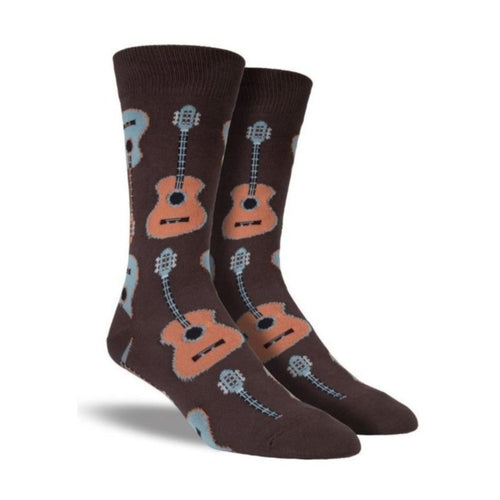 Brown socks with acoustic guitar pattern