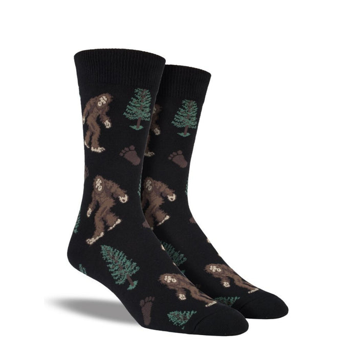 Black socks with Bigfoot and trees