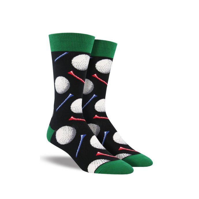 Black socks with green accents with golf balls and tees on them