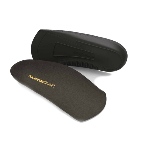 An insole that is 3/4 of a foot from heel in black showing top and bottom by Superfeet