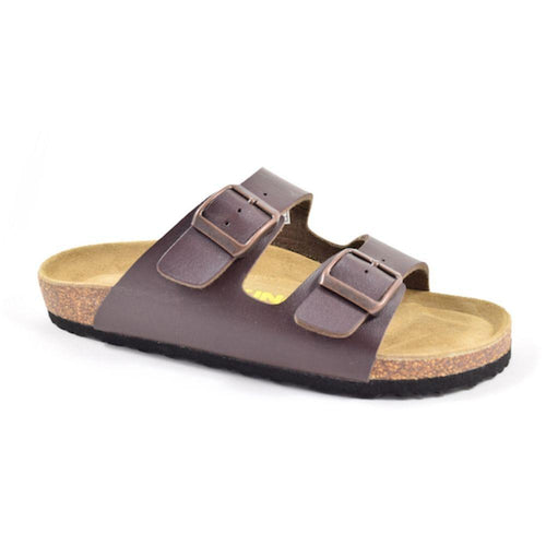 Brown Austin sandal with two buckle straps over foot and cork footbed by Viking