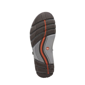 Brown and grey outsole with orange line through middle on the dark tan Untrek sandal by Clarks