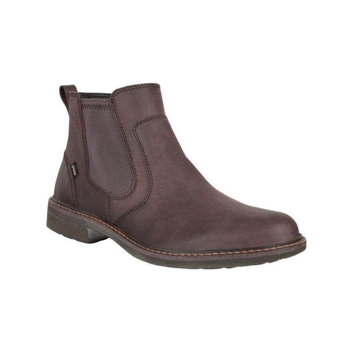 Sleek mocha Turn GTX Chukka boot by Ecco has elastic side panels, slight heel and detailed stitching