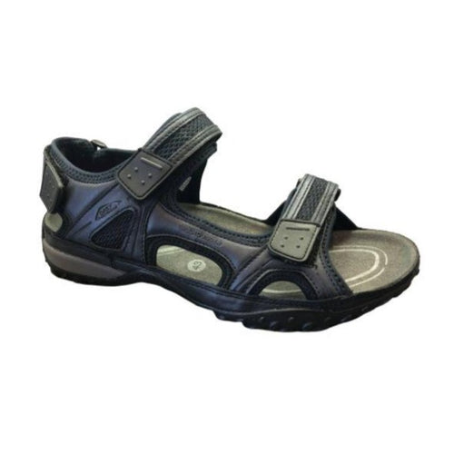 Navy Regent Sandal by Mephisto has two straps over foot and one behind him with an open toe and side