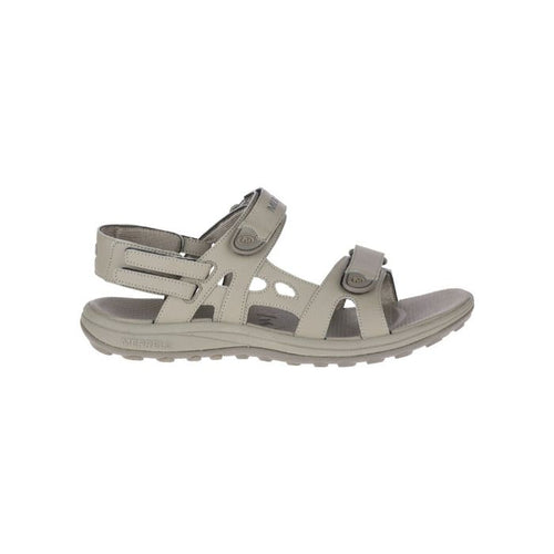 Cedrus Convertable sandal  brindle by Merrell has two Velcro strap across toe and one around heel with an open toe hiker look