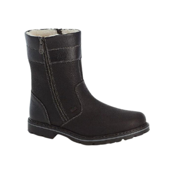 Black boot with wool lining and side zipper showing detailed stitching designs