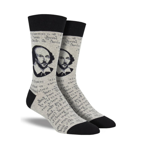 Beige socks with Shakespeare head and poem on them
