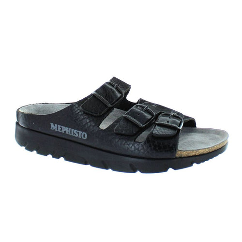 Black sandal with 3 buckle straps across foot with a black outsole on the slip on Zach footed sandal by Mephisto