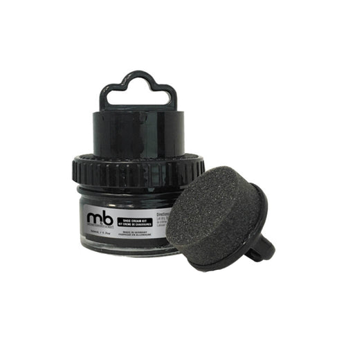 Black container with handle and sponge applicator for shoe cream