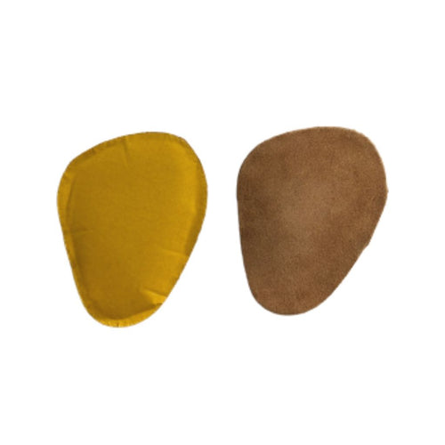 Yellow and tan rounded triangle heel cushions
