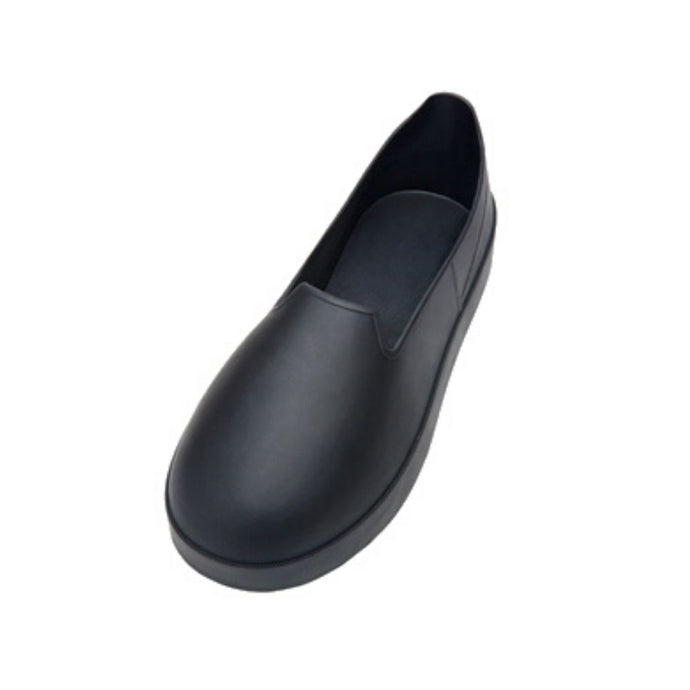 Rubber overboot with rounded toe
