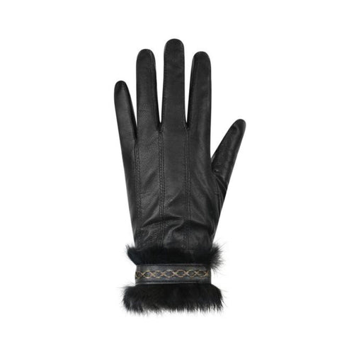 Black leather finger mittens with fur cuffs and detail stitching