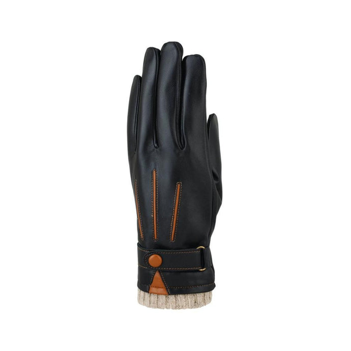 Black leather finger gloves with brown detailing lines and button at cuff