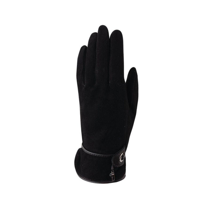 Black Suede finger gloves with leather details and adjustable drawstring at cuff