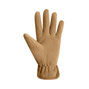 Camel  Suede finger gloves with leather details
