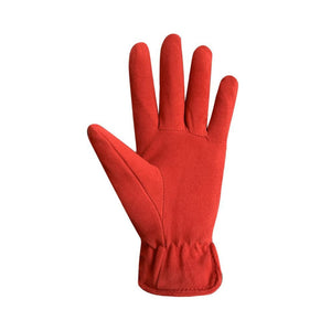 Palm of red  Suede finger gloves with leather details