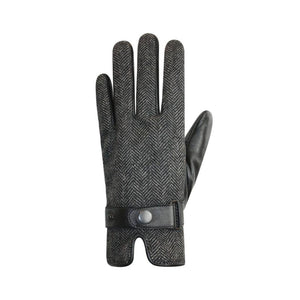 Grey and black lines on the finger glove with black leather cuff strap with button snap