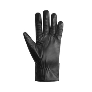 Palm side of patterned finger gloves are black leather