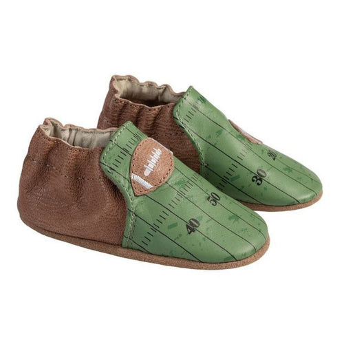 Robeez Soft Sole shoe with brown back and green toe featuring football field and football