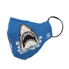 Load image into Gallery viewer, Blue face mask with attacking sharks and black elastic ear loop