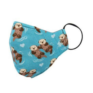 Blue face mask with otters swimming in pairs with black elastic ear loop