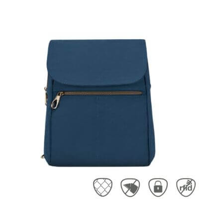 Blue Travelon slim backpack with front flap and zippered pocket.