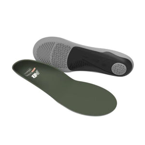 Unisex New Balance insoles show one green footbed flat and other on side showing thick grey and blackbottom (by Superfeet)