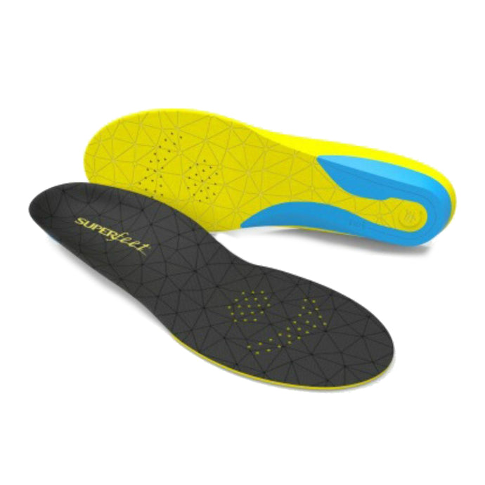 Black Flexthin insole has geometric subtle pattern on bottom while side view shows yellow and blue (by Superfeet)
