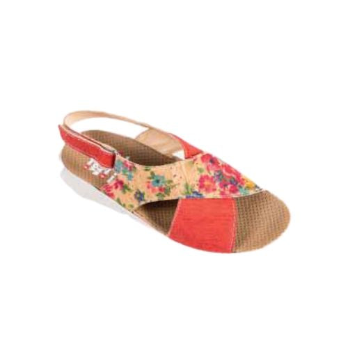 654 sandal by Volks Walkers has criss-cross straps, one floral and other pink with a back strap and tan footbed