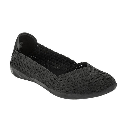 Black woven fabric upper flat called Catwalk by Bernie Mev