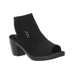 The Texas Salma sandal by Bernie Mev is a heel sandal with mesh over ankle upper, open heel and toe in black