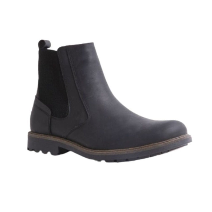 Black ankle boot with stretch back and rugged outsole with detail stitching