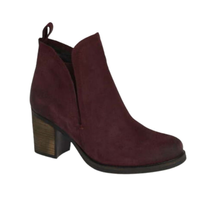 Dark red ankle boot with thick heel and side slit cut for detail