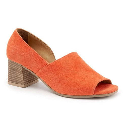 Beautiful orange suede leather shoe featuring an inside cutout, peep toe and stacked block heel.