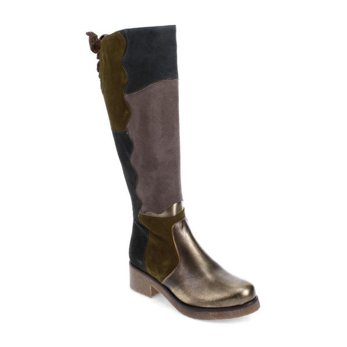 Patch style knee high boots with grey, navy and green patches and s shiny bronze upper toe