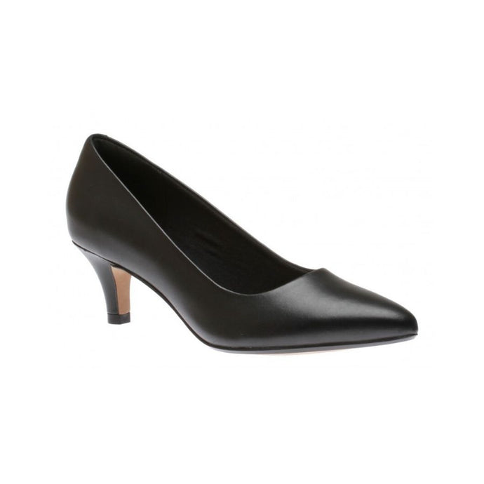 Pointed toe black leather low Jerica pump by Clarks.