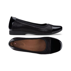 Side view of black Darcey Cap flat by Clarks has textured side with black nubuck trim and a top view showing tan footbed and shiny black toe