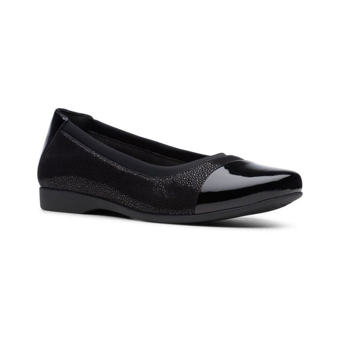 Textured black leather flat by Clarks with shiny toe and black nubuck trim