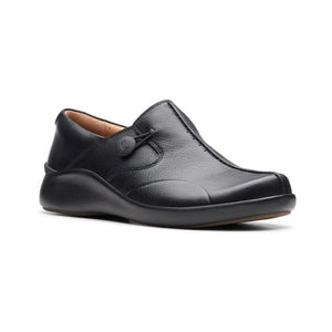 Black leather Loop2 walking shoe by Clarks has soft lines for detail and an elastic fastening on the side