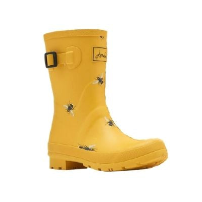 Yellow mid-calf rainboots with an all over bee print. These have a side strap and buckle.