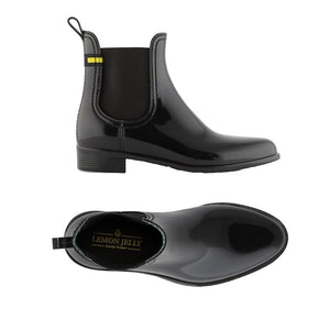 The top view and side view of Lemon Jelly's Brisa ankle rain boot in black.