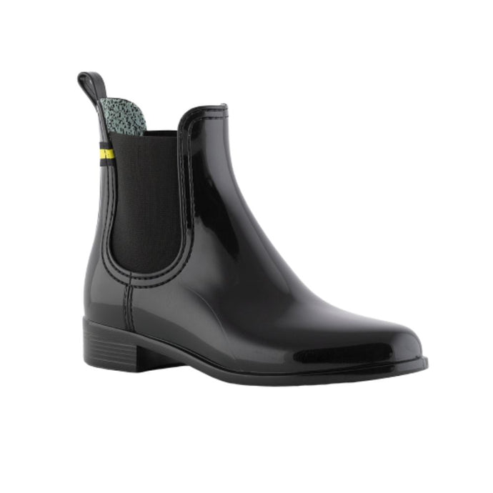 Lemon Jelly's Brisa Rain ankle boot in black with a decorative yellow tag