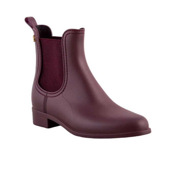 Angled view of a Lemon Jelly Splash 02 ankle rain boot in wine matte