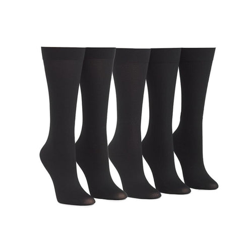 5 mid calf black socks on mannequin legs with pointed toe