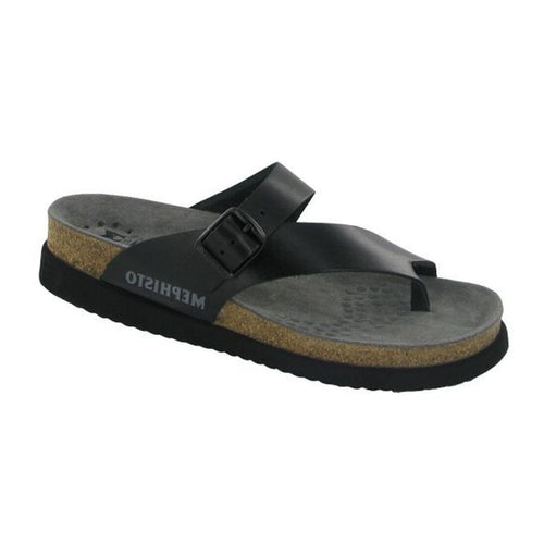 Black leather Helen by Mephisto split thong sandal with side buckle and cork footbed